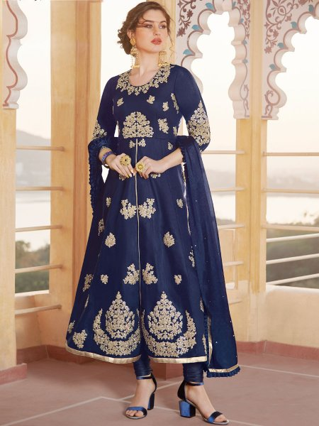 Navy Blue Chanderi Embroidered Party Churidar Pant Kameez