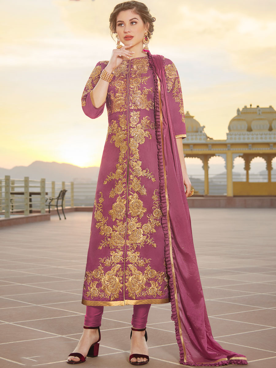 Thulian Pink Chanderi Embroidered Party Churidar Pant Kameez