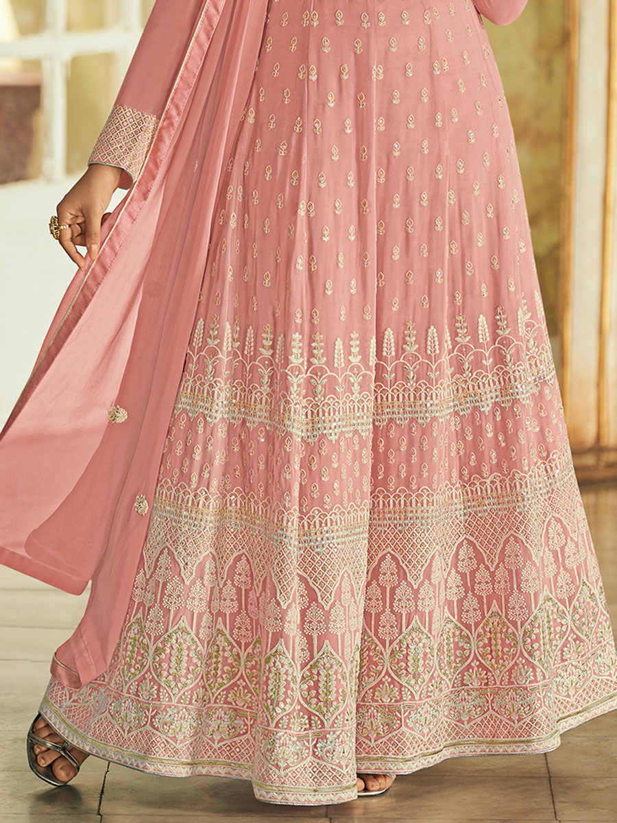 Salmon Pink Faux Georgette Embroidered Festival Lawn Kameez