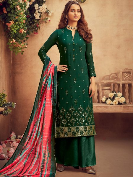 Hunter Green Chiffon Embroidered Festival Palazzo Pant Kameez