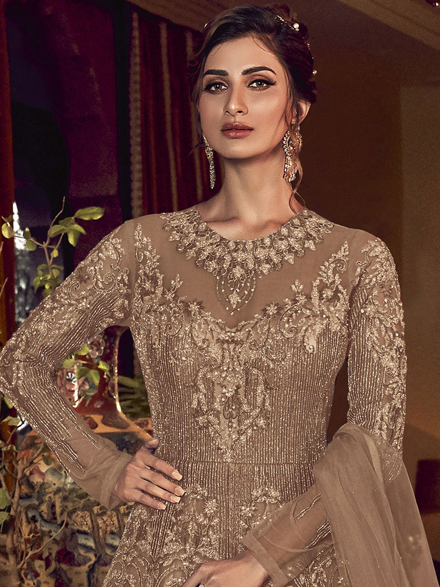 Fallow Brown Net Embroidered Wedding Lawn Kameez