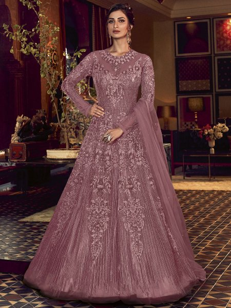 Thulian Pink Net Embroidered Wedding Lawn Kameez