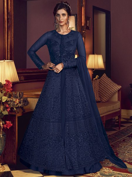 Navy Blue Net Embroidered Wedding Lawn Kameez