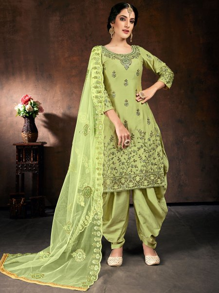 Light Green Cotton Embroidered Festival Patiala Pant Kameez