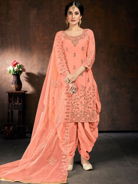 Coral Pink Cotton Embroidered Festival Patiala Pant Kameez