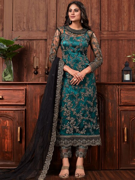 Pine Green Net Embroidered Party Pant Kameez