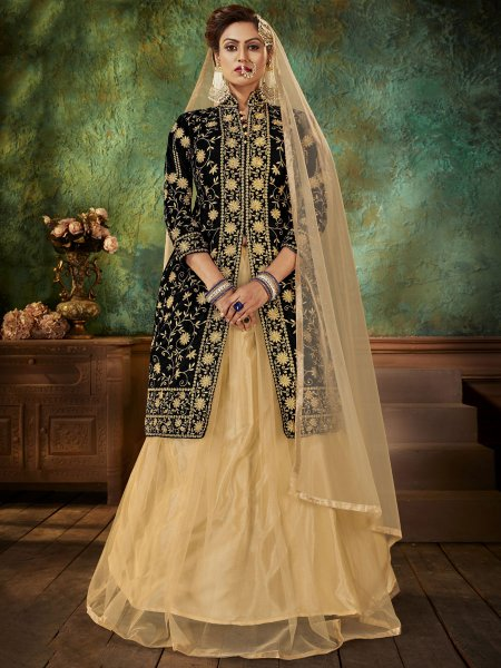 Black Velvet Embroidered Party Lehenga with Suit