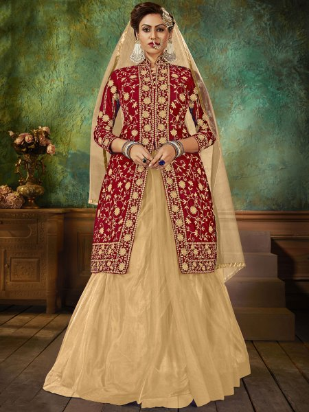 Maroon Velvet Embroidered Party Lehenga with Suit