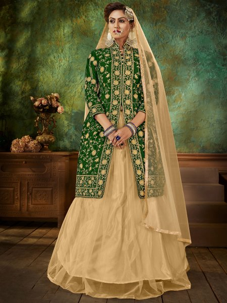 Hunter Green Velvet Embroidered Party Lehenga with Suit