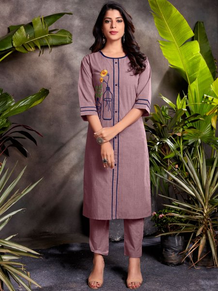 Light Purple Cotton Embroidered Party Kurti