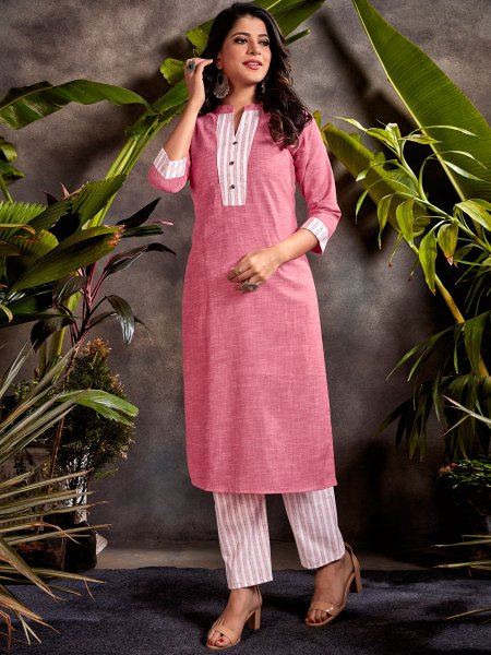 Salmon Pink Cotton Embroidered Party Kurti