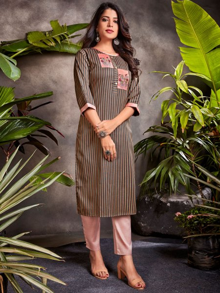 Raw Umber Brown Cotton Embroidered Party Kurti
