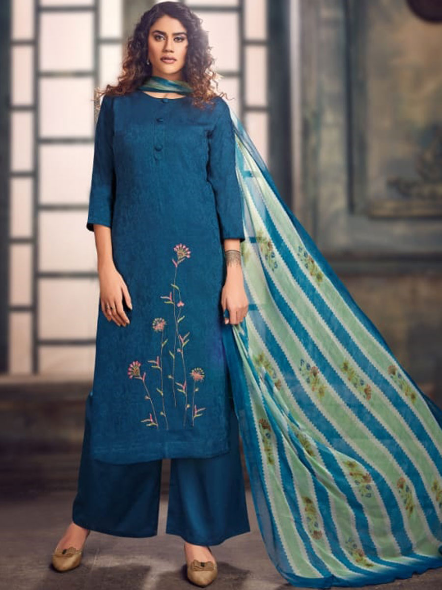 Yale Blue Jacquard Embroidered Party Palazzo Pant Kameez