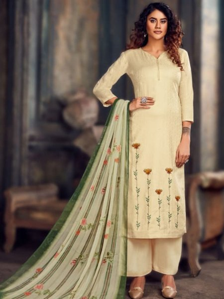 Cream Yellow Jacquard Embroidered Party Palazzo Pant Kameez