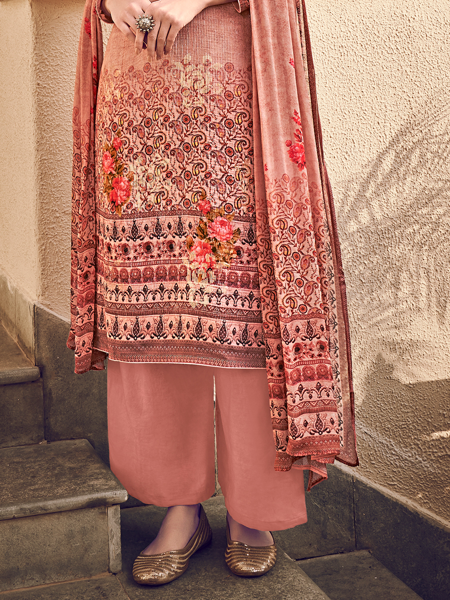 Light Thulian Pink Viscose Silk Embroidered Party Palazzo Pant Kameez
