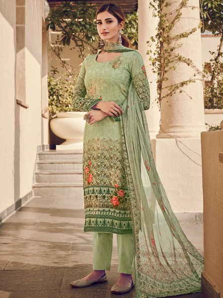 Moss Green Viscose Silk Embroidered Party Pant Kameez
