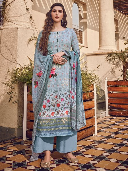 Columbia Blue Viscose Silk Embroidered Party Palazzo Pant Kameez