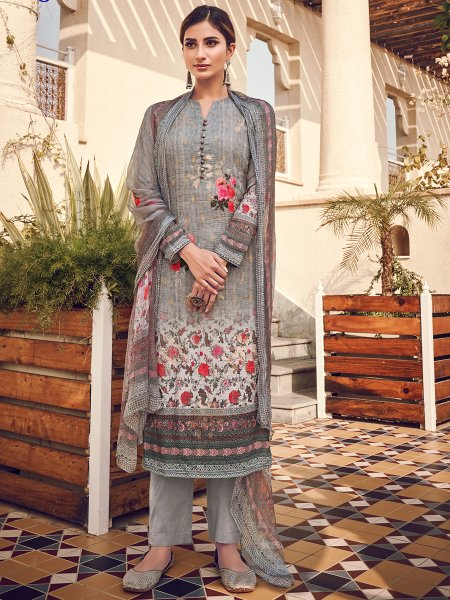Gray Viscose Silk Embroidered Party Pant Kameez