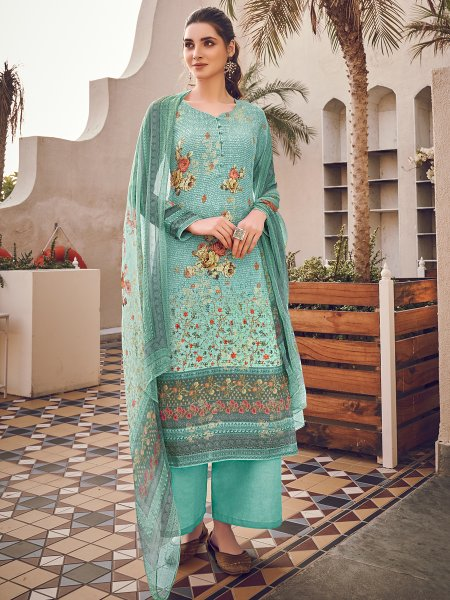Sky Blue Viscose Silk Embroidered Party Palazzo Pant Kameez