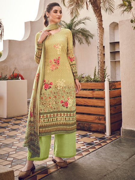 Light Green Viscose Silk Embroidered Party Palazzo Pant Kameez