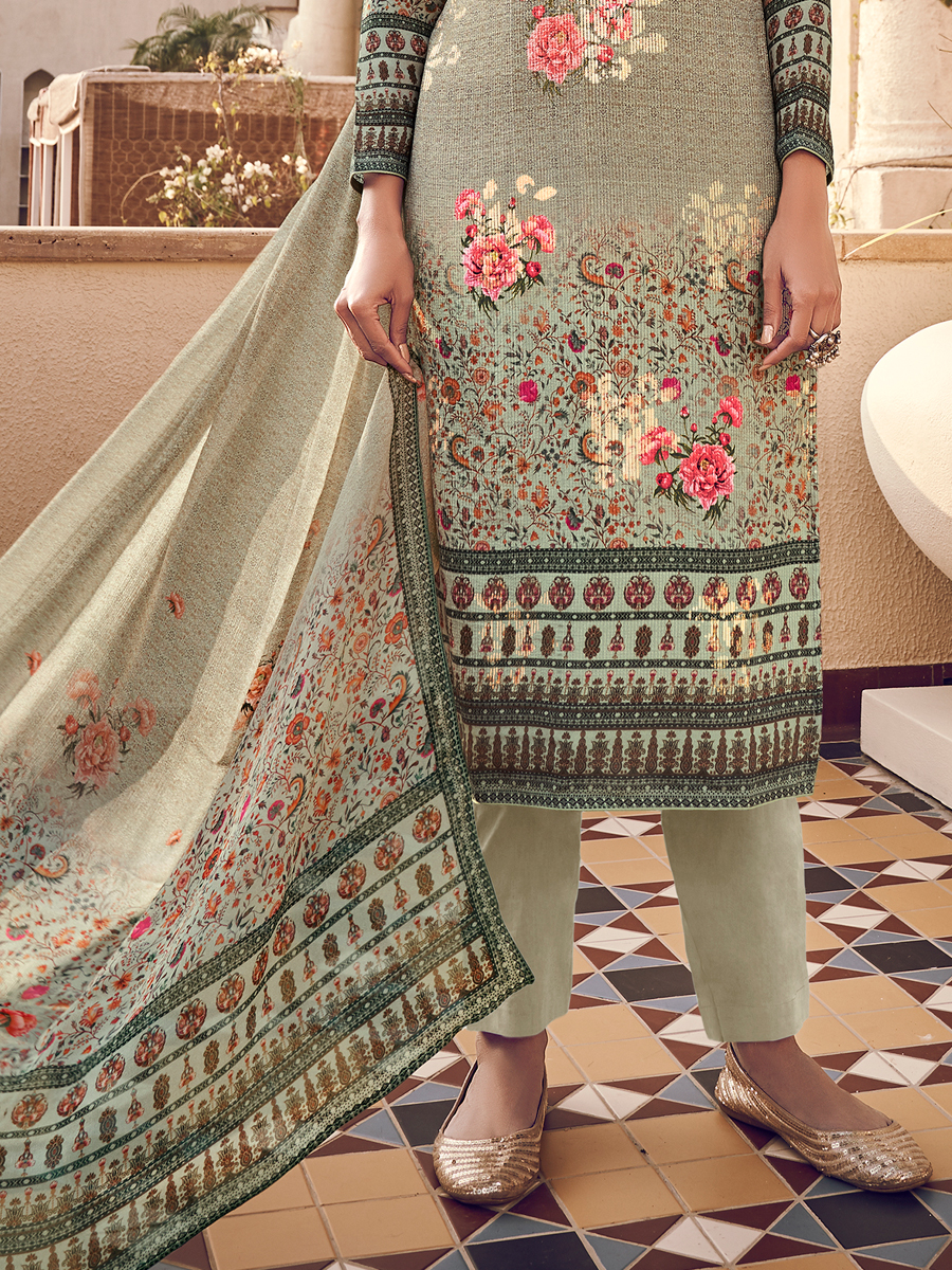 Light Camouflage Green Viscose Silk Embroidered Party Pant Kameez