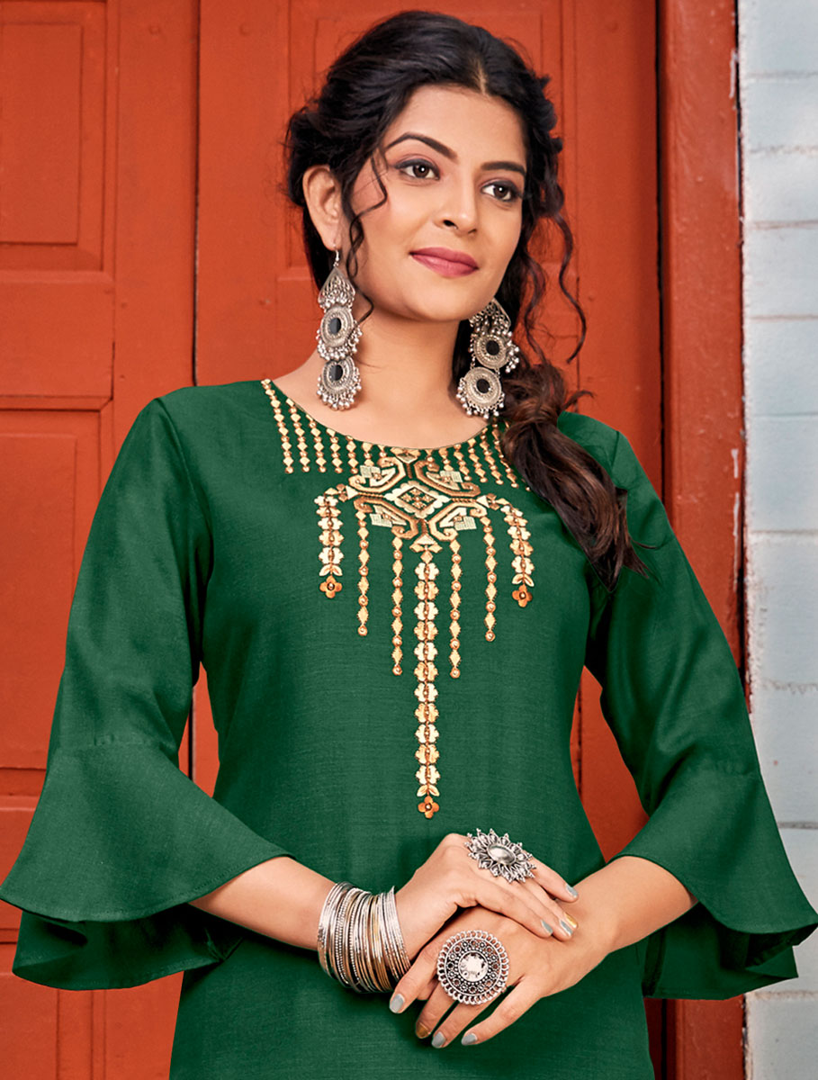 Hunter Green Rayon Embroidered Party Kurti