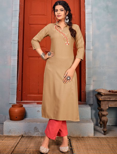 Tan Brown Rayon Embroidered Party Kurti