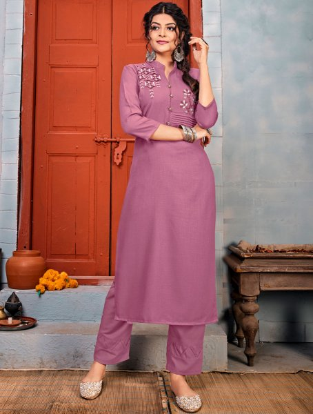 Light Purple Rayon Embroidered Party Kurti