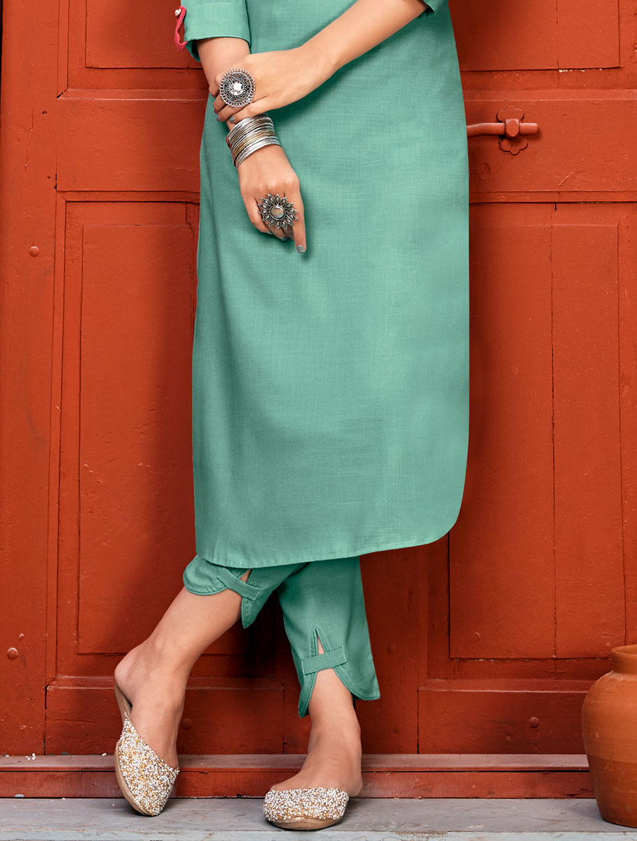 Light Persian Green Rayon Embroidered Party Kurti