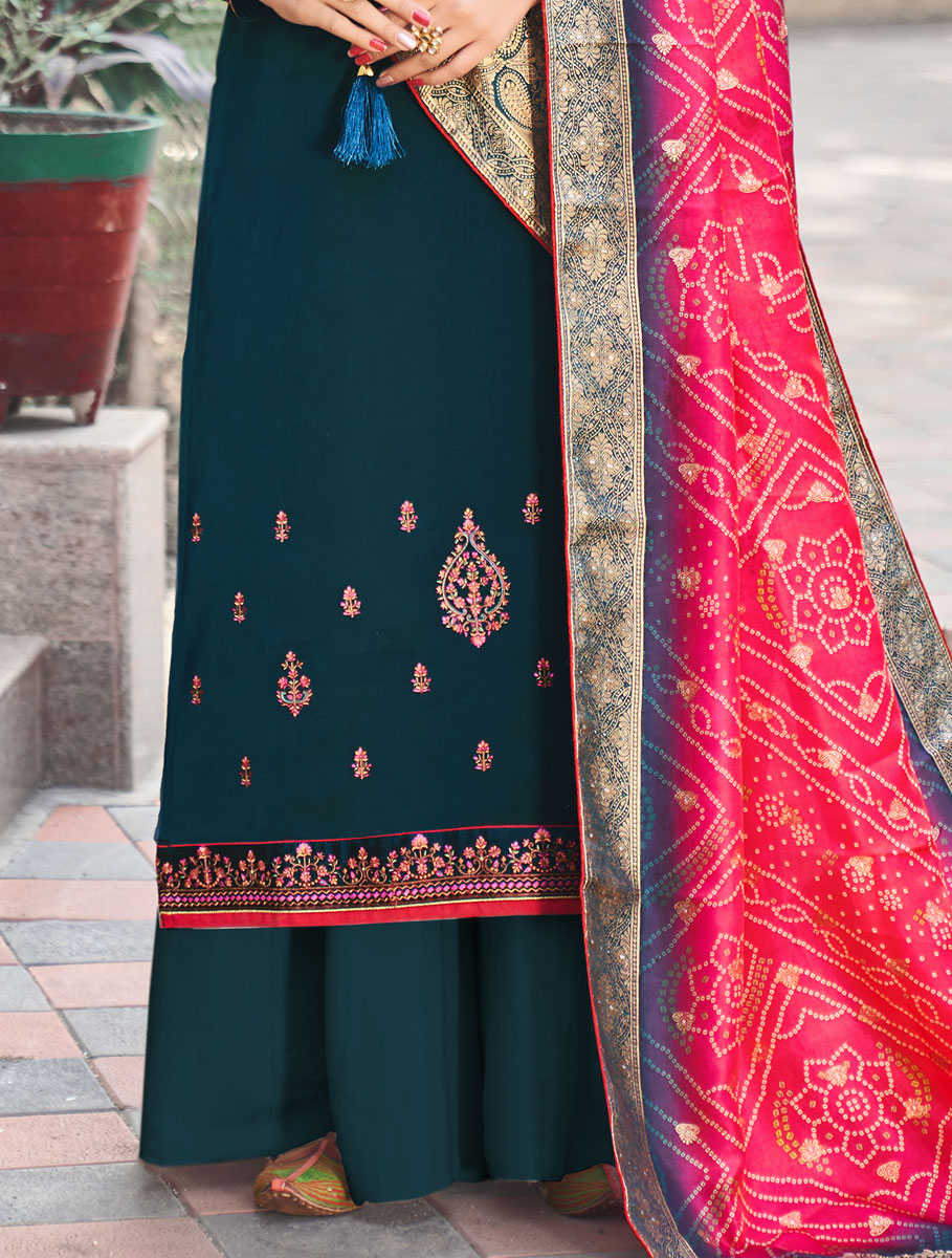 Teal Blue Silk Embroidered Festival Palazzo Pant Kameez