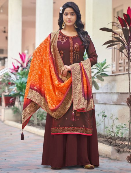 Maroon Silk Embroidered Festival Palazzo Pant Kameez