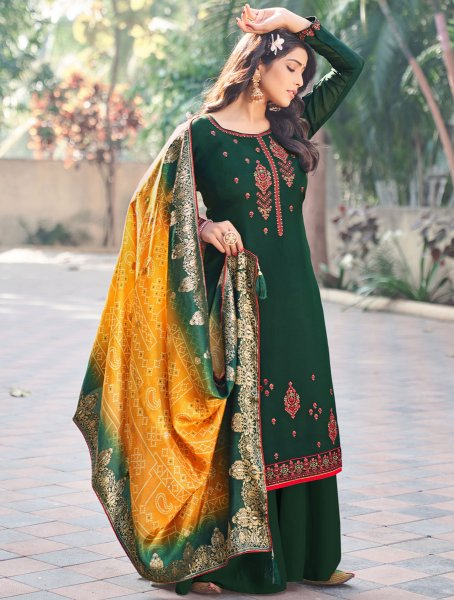 Hunter Green Silk Embroidered Festival Palazzo Pant Kameez