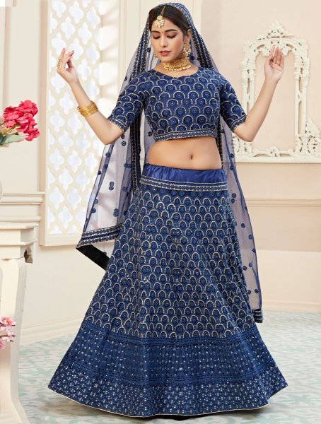 Navy Blue Net Embroidered Wedding Lehenga Choli