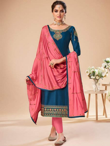 Yale Blue Silk Embroidered Festival Pant Kameez
