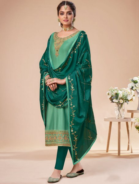 Jungle Green Silk Embroidered Festival Pant Kameez