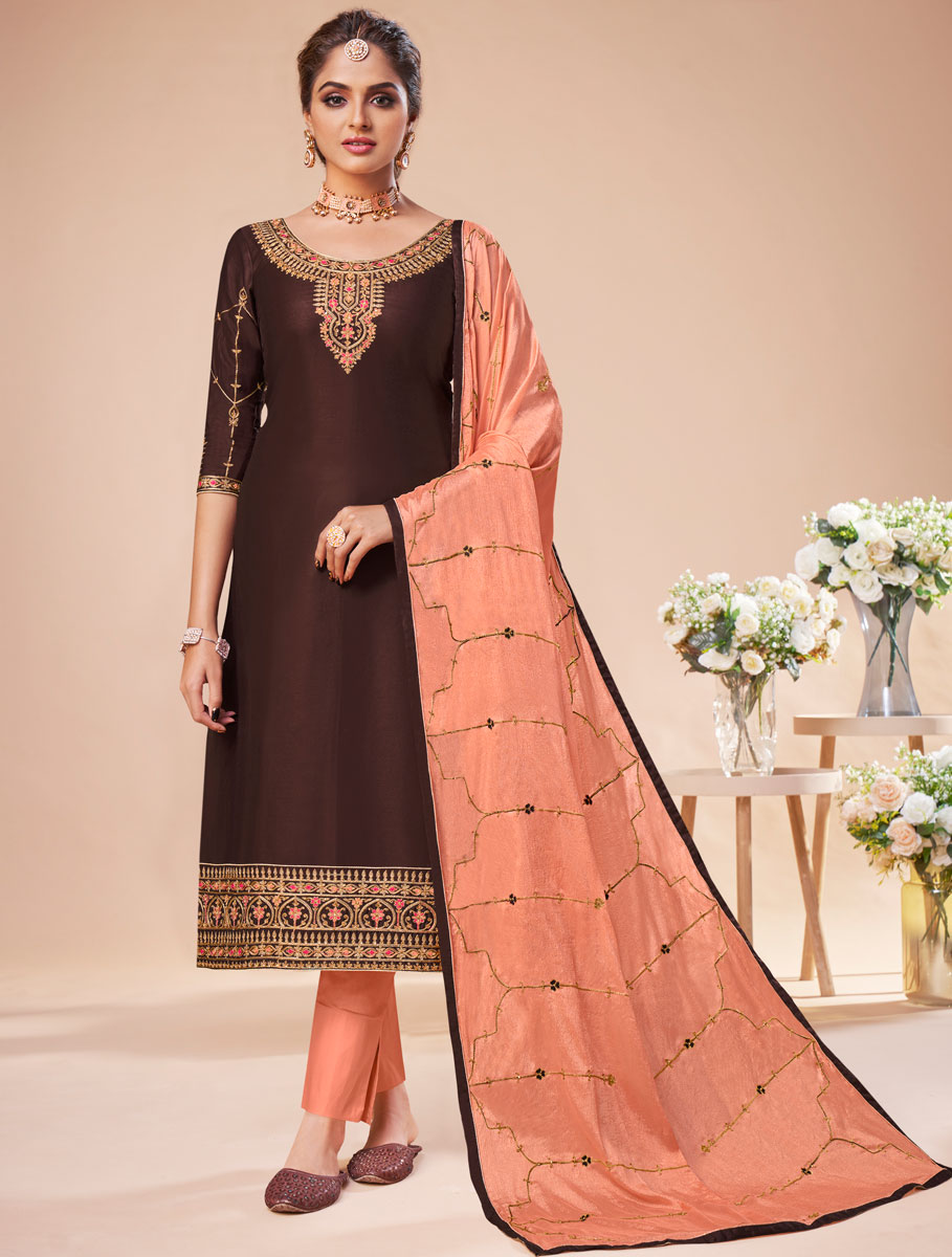 Seal Brown Silk Embroidered Festival Pant Kameez