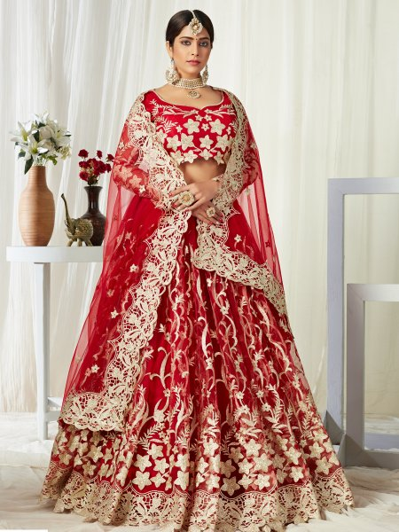 Rose Madder Red Net Embroidered Bridal Lehenga Choli
