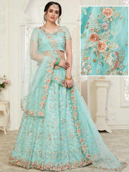 Sky Blue Net Embroidered Wedding Lehenga Choli