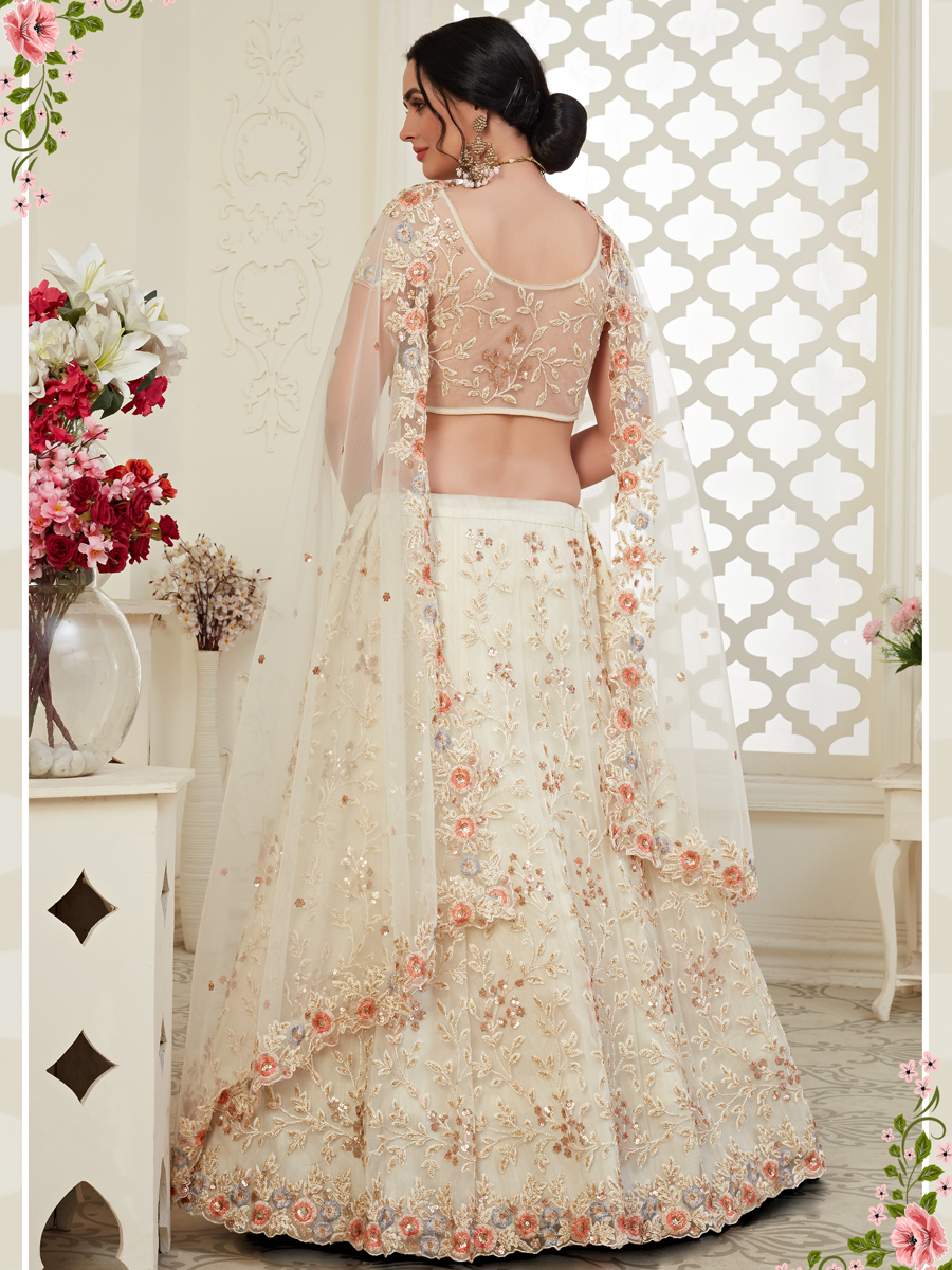 Off-White Net Embroidered Wedding Lehenga Choli