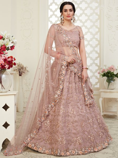 Mauve Violet Net Embroidered Wedding Lehenga Choli