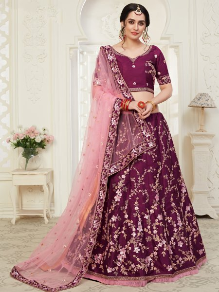 Wine Red Silk Embroidered Wedding Lehenga Choli