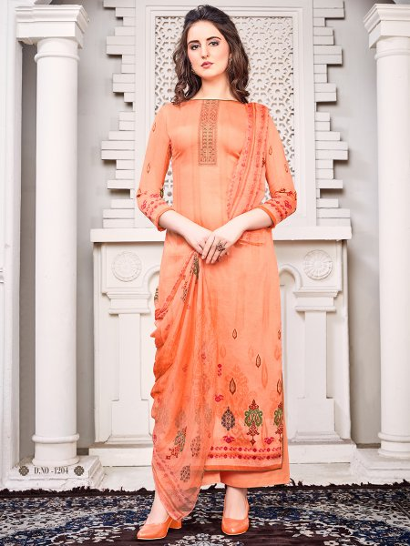 Salmon Orange Faux Georgette Embroidered Party Palazzo Pant Kameez