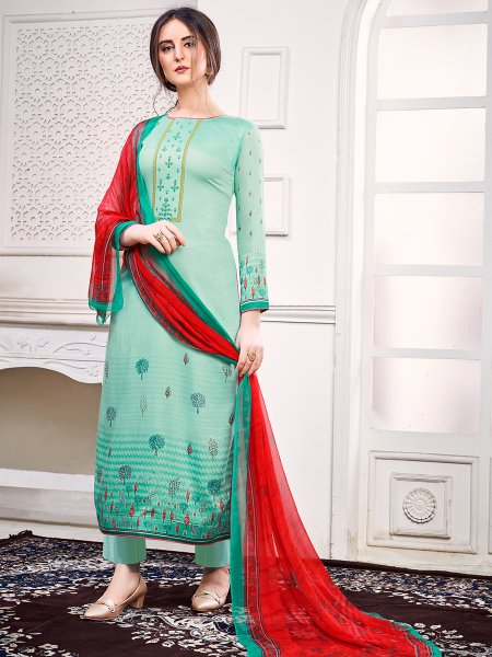 Light Jungle Green Faux Georgette Embroidered Party Pant Kameez