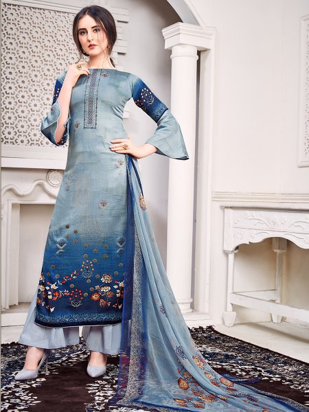 Steel Blue and Yale Blue Faux Georgette Embroidered Party Palazzo Pant Kameez