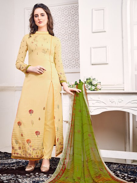 Cream Yellow Faux Georgette Embroidered Party Pant Kameez