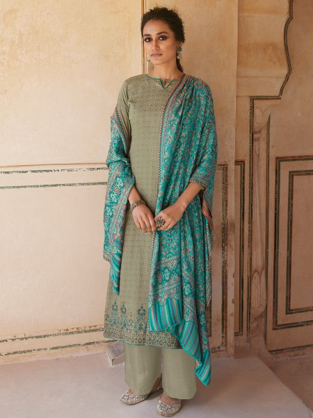 Camouflage Green Cotton Embroidered Party Palazzo Pant Kameez