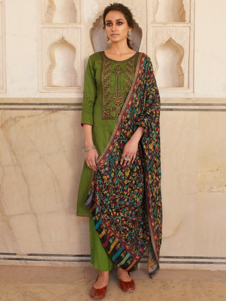 Olive Drab Green Cotton Embroidered Party Palazzo Pant Kameez