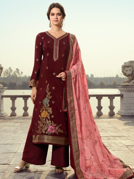 Maroon Jacquard Embroidered Party Palazzo Pant Kameez