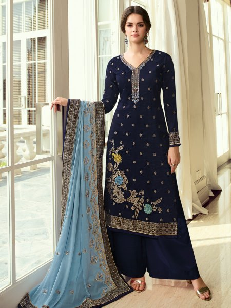 Navy Blue Jacquard Embroidered Party Palazzo Pant Kameez