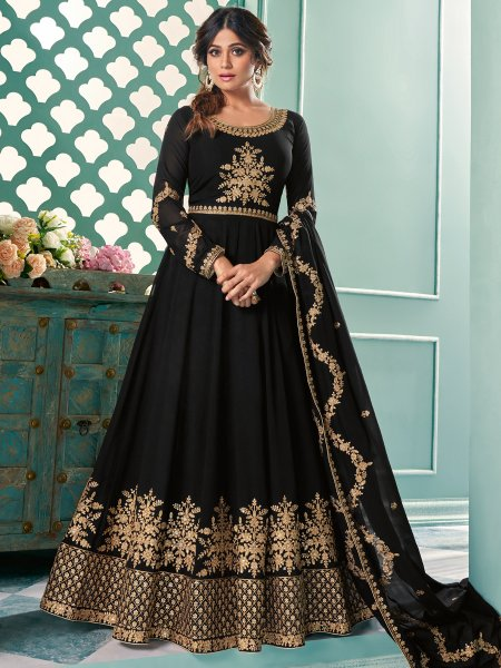 Black Faux Georgette Embroidered Festival Lawn Kameez